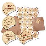 24 braune Papier-Tütchen Papiertüten Weihnachtstüten (13 x 18 cm) und 24 runde Aufkleber 4 cm