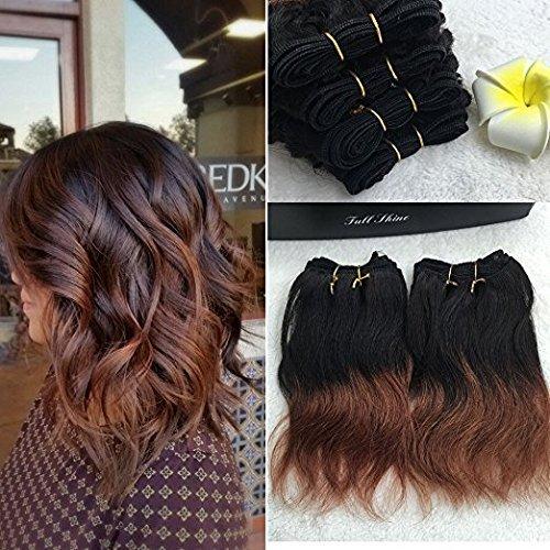 Full shine 8 pollice/20cm 100grammo 100% capelli umani tessere fasci ombre naturale wave estensione dei capelli umani del tessuto 1b/33