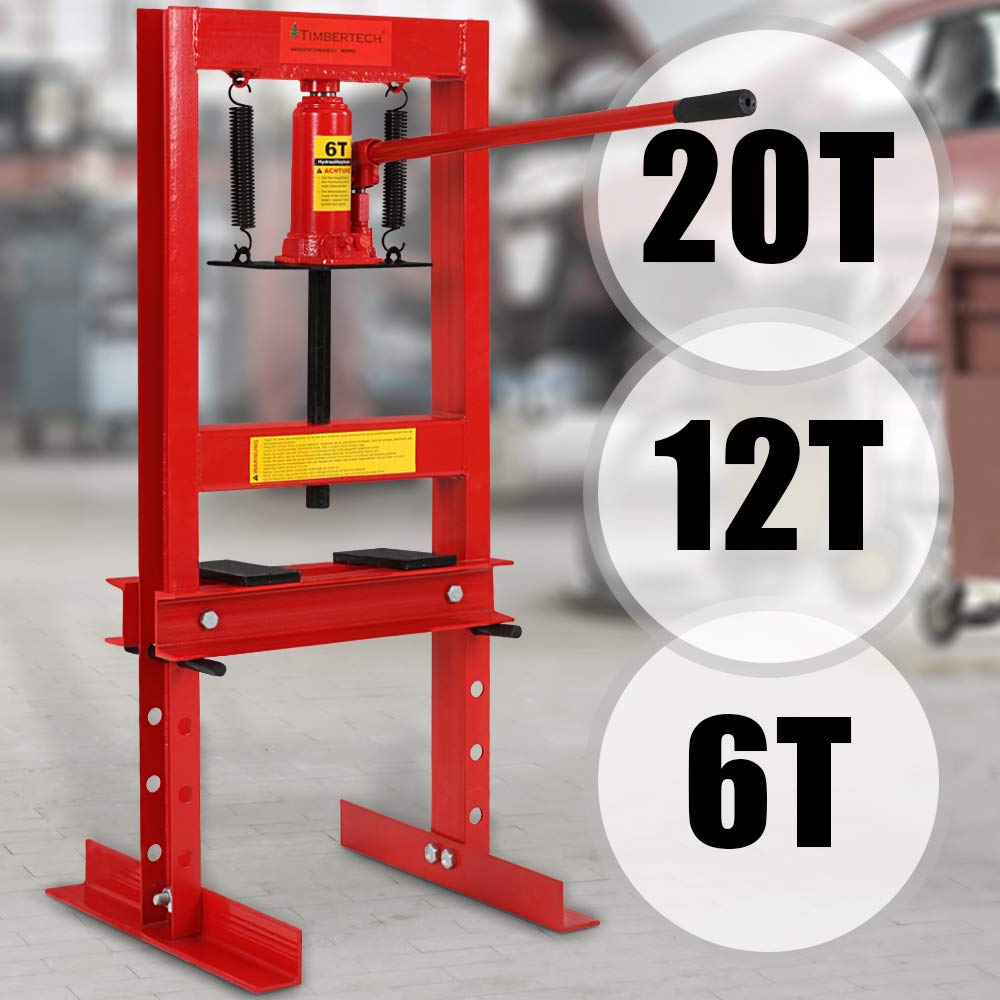 6T 12T 20T Werkstattpresse - inkl. Hydraulikpumpe und 2x Druckplatten - Hydraulikpresse, Lagerpresse, Dornpresse…
