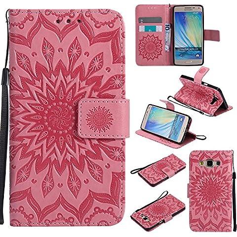 Lonchee Samsung Galaxy A5 Leder Wallet Tasche Brieftasche Schutzhülle ,