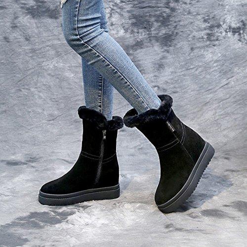 la Signora Stivali da Neve in Stivali Aumentato Scarpe Invernali Scarpe Di Cotone Nero