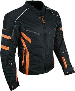 HEYBERRY Kurze Textil Motorrad Jacke Motorradjacke Schwarz Orange Gr. XL