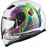 Shox Sniper Peacock Motorcycle Helmet S White/Pink/Neon Yellow