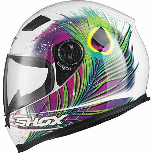 *Shox Sniper Peacock Damen Motorrad Roller Rennsport Integralhelm XS Weiß/Rosa/Neon Gelb*