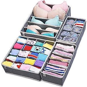 MIU COLOR® Aufbewahrungsbox für Schublade Organizer Schrank Organizer Büstenhalter Unterwäsche Schubfach 4er Set (Grau)