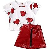 WangsCanis Conjunto de 2 piezas de camiseta de manga corta con impresión de corazón + falda de cintura alta línea A para San
