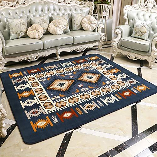 DDFGDFSA Mediterraner Teppich Große Wohnzimmer Teppiche Blaue Schlafzimmer Teppiche Teetisch Rechteckige Bodenmatte