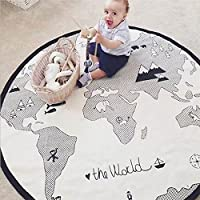 Baby Play Mat,lulalula Soft Canvas Cotton Infant World Map Playmat Blanket Crawling Mat Round Lace Activity Pad Carpet Floor Rug for Home Kids Decoration Bedroom Gift