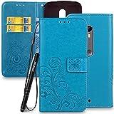 Slynmax Leaf Lederhülle für Moto X Style Wallet Flip Case Tasche Lanyard Strap Leder Tasche Klapphülle Karten Slot Ständer Magnetverschluss Handyhülle(Blau)