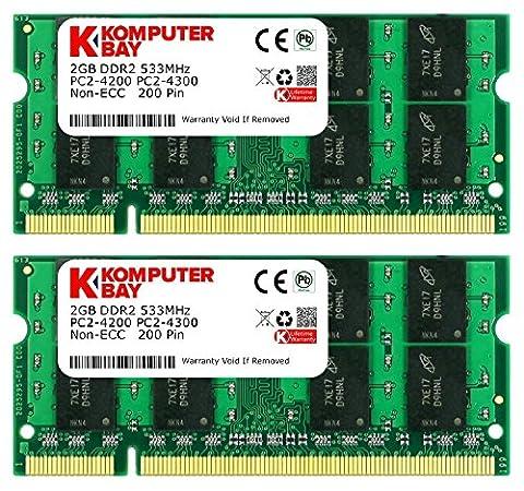 Komputerbay 4GB 2X 2GB DDR2 533MHz PC2-4200 PC2-4300 DDR2 533 (200 PIN) SODIMM mémoire d'ordinateur portable