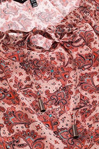 Ulla Popken Femme Grandes tailles Blouse Femme en Viscose Fluide, Imprimée, Manches longues Tunique tendance 706088 Multicolore