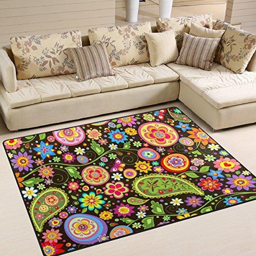 cpyang Tribal Indien Floral Paisley Rechteck Bereich Teppiche Foto Custom rutschfest Moderne Teppiche für Wohnzimmer Große Boden Matte für Schlafzimmer Esszimmer (5'7,6cm X 4'), Textil, einfarbig, 5'3