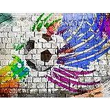 Fototapete Fussball Vlies Wand Tapete Wohnzimmer Schlafzimmer Büro Flur Dekoration Wandbilder XXL Moderne Wanddeko - 100% MADE IN GERMANY - Steinwand Grafitti Blau Violett Gelb Schwarz Runa Tapeten 9021010b