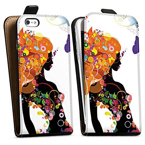 Apple iPhone X Silikon Hülle Case Schutzhülle Frau Schmetterling Blumen Downflip Tasche schwarz