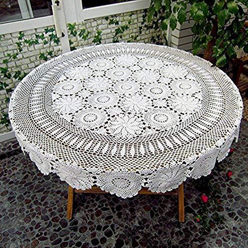 ustide Floral Hand Häkel Tischdecke weiß Baumwolle Tisch Overlays Lace Crochet Tisch, rund, baumwolle, weiß, diameter 51inch(130cm) -