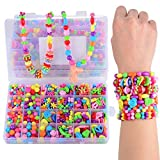 #4: Licien Sunshine DIY Beads Set with Different Types and Shapes of Colorful Acrylic Jewelry in A Box for Children Necklace Bracelet Crafts Best Toys 4Th to 12