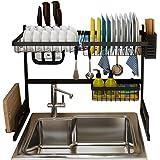 رف لحمل الاطباق فوق الحوض، صفاية اطباق للتجفيف مع لوحة تصفية وحامل لعيدان الطعام وادوات المطبخ من جولسكي