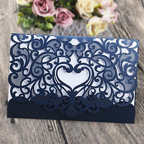 Papier-schnitt-kit (Hochzeit Einladung 50Stück eleva Laser geschnitten Hochzeit Einladungen Kit, mit blanko bedruckbar Papier und Umschläge Navy Blau)