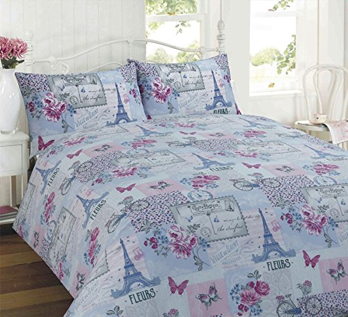 Parisienne Lilac Patchwork King Bed Duvet Cover Bedding & 2 Pillowcase Set, Floral Patchwork, Eiffel Tower