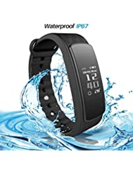 iWOWN I3HR Plus Smart Armband Fitness Tracker Bluetooth 4.0 Handy Pulsuhr Sport Wristband IP67 Wasserdicht mit Herzfrequenz Schrittzähler Kalorienzähler Schlafanalyse Handy-Suchfunktion für iOS und Android Handys