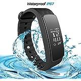 Tracker d'activité iWOWN i3HR Bluetooth 4.0 Smart Fitness Bracelet Montre Santé Smartwatch Podomètre avec Moniteur de Fréquence Cardiaque/ Sommeil Compteur de Pas/ Calories/ Distance pour Android iOS Free App