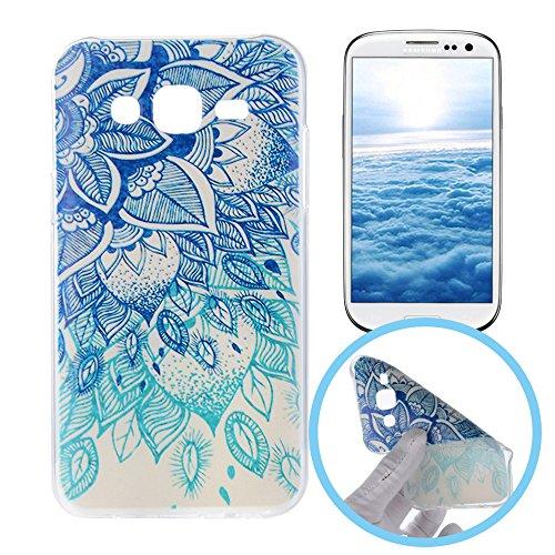 Silingsan Silikon Hülle für Samsung Galaxy S3 Gummi Gel TPU Schutzhülle Soft Slim Silicone Case Cover Ultra Dünne Etui Weiche Flexible Schale Anti-stoß Anti-Kratz Tasche - Blaue Mandala-Blume - S3 Samsung Gel Case
