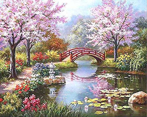 KeyYouNi Malen Nach Zahlen Kit 40,6x 50,8cm DIY Ölgemälde mit Acryl Pigment Wooden Framed Cherry Blossoms Lake