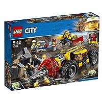 Lego City 60186 - Bergbauprofis Pesante Impianto di Perforazione per il Data Mining, Unterhaltungsspielzeug - Il ragno illumina il pulsante sul retro della piattaforma di produzione nella torsione scura per ruotare il trapano - Contiene un funzioname...