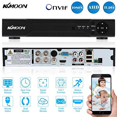 KKmoon 4CH Canales AHD DVR/ HVR/ NVR Full 1080N/720P (HDMI, P2P Network, Onvif, Grabador de Video Digital, Soporta Plug y Play, Android/iOS APP, Detección de Movimiento, Email Alarma, PTZ para HD 2000TVL CCTV Cámara de Seguridad)