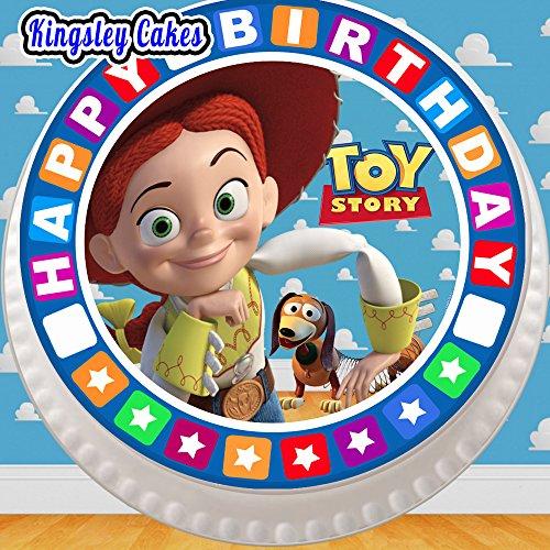 Cannellio Cakes vorgeschnittenen Essbarer Zuckerguss großen Kuchen Topper-19,1cm rund Toy Story Jessie mit Geburtstag Bordüre (Toy Story Cake Topper)