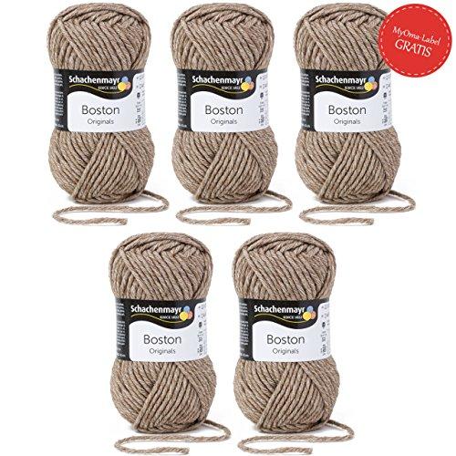 Boston Wolle Schachenmayr Strickgarn - 5x beige Wolle stricken häkeln in Nadelstärke 7-8 mm - 5x Schachenmayr Wolle Boston in sisal (Fb 004) - Wolle für Anfänger - 50 g/Knäuel inkl. GRATIS MyOma Label