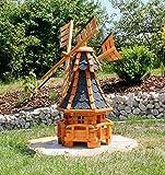 Gartenwindmühle mit Solarbeleuchtung blau Typ 11