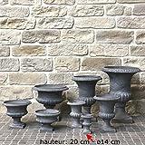 L'ORIGINALE DECO Vase Pot Vasque Jardinière Médicis de Jardin Gris Hauteur 20 cm ø14 cm...