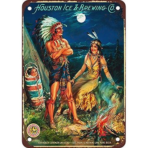 Houston hielo y reproducción de preparación de los indios aspecto Vintage Metal Sign