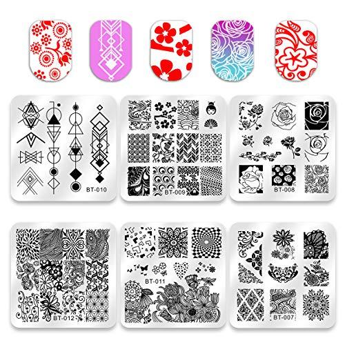Biutee Set di Nail Art Stamping 6pcs Nail Template Piastra per Unghie+ 1pcs Raschietto+1pcs Stamper Per manicure (decorazione delle unghie con foglie, fiori, animali)