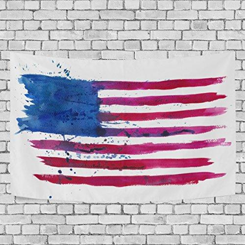 Amerika Wandteppiche (jstel Watercolor Flagge Amerika Wandteppich für Dekoration für Wohnung Home Decor Wohnzimmer Tisch Überwurf Tagesdecke Wohnheim 152,4x 101,6cm, Textil, multi, 80x60 inch)