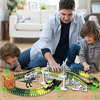 Actrinic Slot Car Race Track Sets Dinosaur Toys Jurassic World With 142 Pieces Flexible Tracks 2 Dinosaurs,1 Military Vehicles,4 Trees,2 Slopes,1 Double-door & 1 Hanging Bridge For Children's Gift 2