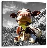 Kuh im Karwendelgebirge B&W Detail, Format: 60x60 auf Leinwand, XXL riesige Bilder fertig gerahmt mit Keilrahmen, Kunstdruck auf Wandbild mit Rahmen, günstiger als Gemälde oder Ölbild, kein Poster oder Plakat