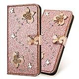 3D Butterfly Bling Glitter Glitzer Diamond Musterg Ledertasche Slim Retro Bookstyle mit Standfunktion Karteneinschub Magnetverschluss Flip Wallet Hülle Schutzhülle für Samsung Galaxy J6 2018