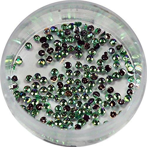 RM Beautynails 1,5 mm Vert ronde irisé strass paillettes strass env. 50 pièces pour Nail Art et Manucure Design
