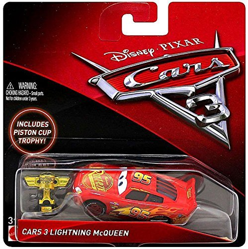 Disney/Pixar Cars 3 - Lightning McQueen con Piston Cup trofeo