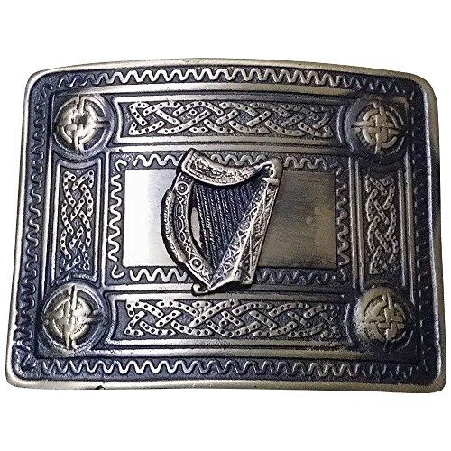 Herren Celtic Kilt Gürtelschnalle Irische Harfe antik finish/Kilt Gürtelschnalle Celtic (Brosche Kilt Scottish)