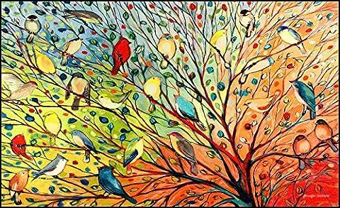 toland Maison Jardin Arbre Oiseaux, Tapis Standard, multicolore, 45,72x 76,2x 0,38cm,,, 800038