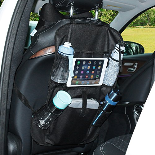 Rovtop 2 Pcs Organizadores para Asientos de coches Organizador de coche con sostenedor de tablet bolsillo de la pantalla táctil para tablet Android y iOS hasta 10 1
