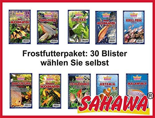 SAHAWA® Frostfutterpaket 30 Blister á 100g, Frostfutter Aquarium, Aquaristik, Frostfutter für Fische, Zierfischfutter, Aquarium, Frostfutter