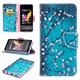 COWX Honor 7x Book Style PU Leather Case Flip Cover Case Wallet Case Cover With PU Leather Case with Soft Silicone Mobile Phone Holder for Huawei Honor/7x Pocket Wallet Plum Blossom Case