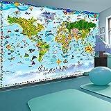 murando - Fototapete Weltkarte für Kinder 250x175 cm - Vlies Tapete - Moderne Wanddeko - Design Tapete - Wandtapete - Wand Dekoration - Kindertapete e-A-0102-a-a