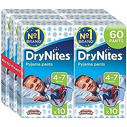 DryNites - Pyjama Pants - Pañales para niños (4 - 7 años), pack de 60 pañales (2 cajas x 30 pañales)