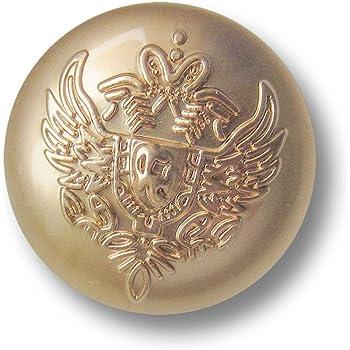 Knopfparadies braun // Metallkn/öpfe // /Ø ca 8er Set noble zweifarbige /Ösen Metall Kn/öpfe mit Krone /& Lorbeerkranz // gl/änzend goldfarben 16mm