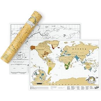 Luckies LUKSTRA Mappa del mondo personalizzata in formato da viaggio, Carta, Multicolor, 29.7x42x0.2 cm